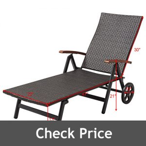 HPW Outdoor Chaise Lounge with Folding Recliner